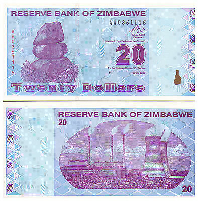 2009 $20 Zimbabwe Banknote - Uncirculated