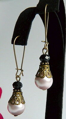 Victorian Vintage Style Pale Pink Pearl & Black Crystal Antiqued Bronze Earrings