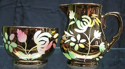 Vintage Cream & Sugar Copper Luster Wade Flowers