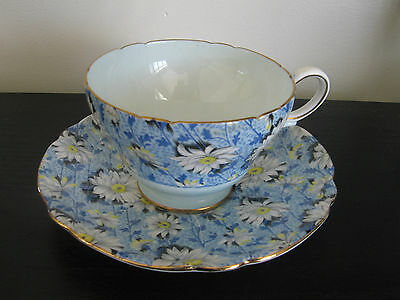 Shelley China Blue Daisy Chintz Cup and Saucer