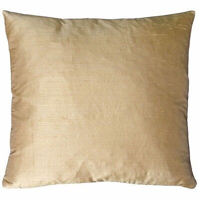 Dupioni Square Silk Deco Pillow 18x18 Khaki Cushion