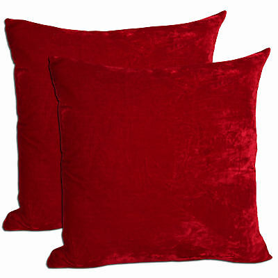 "2x Comfortable Polyester Velvet Red Deco Pillow 18""x18"""