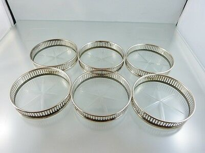 PIERCED STERLING & CUT CRYSTAL SET OF 6 DRINK COASTERS BY unknown  USA