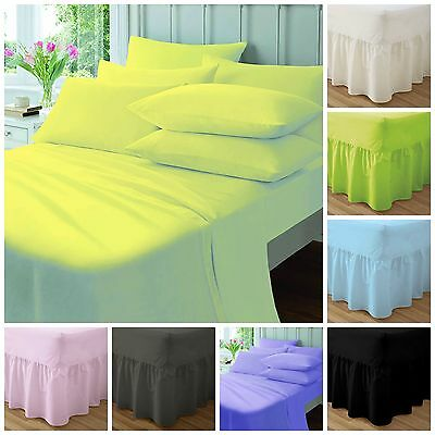Plain Dyed Poly Cotton  Valance Fitted Bed Cover Sheet Single,double,king...!!!