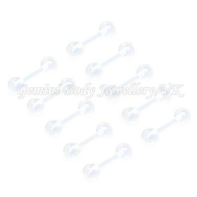 Pack of 10 Flexible acrylic cartilage/tragus retainers 16 Gauge (1.2mm x 8mm)
