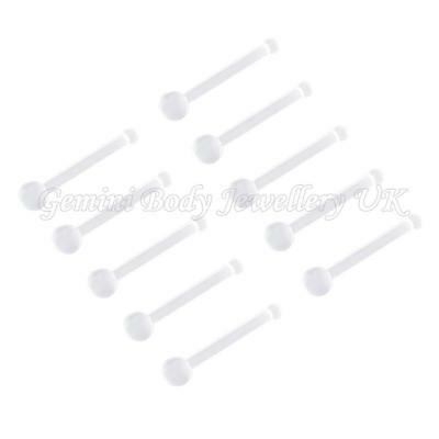 Pack of 10 Clear Flexible Nose Retainers 18 Gauge (1.0mm  x 8mm)