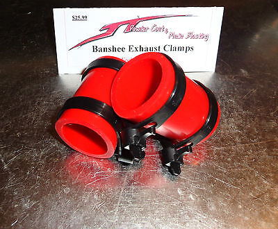 Yamaha Banshee exhaust pipe clamps all years fmf,dg, Factory (RED)