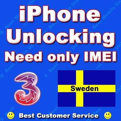 iphone 3G, 3GS, 4, 4S 7 7 THREE 3 HUTCHISON SWEDEN Factory Unlocking CLEAN IMEI