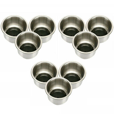 Stainless Steel Cup Holders Recessed,Lot of 9 Drink Holder Marine Boat Rv Camper