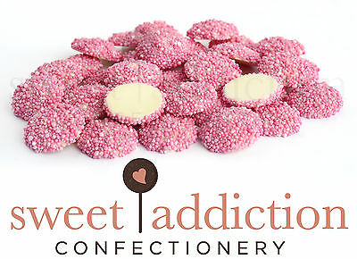 1.5kg Pink Speckles on White Chocolate - Wedding Candy Buffet Freckles Jewels