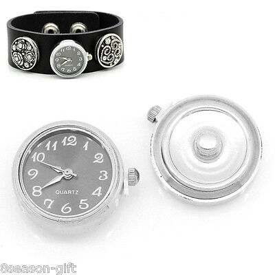 """1 PC Watch Face Snap Click Buttons Snap Silver Tone 25mmx21mm(1""""x7/8"""")"""