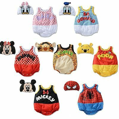 NEW Baby Boy Girl Disney 7 Costumes 2 Pieces Romper Outfit Set Size 00,0,1,2