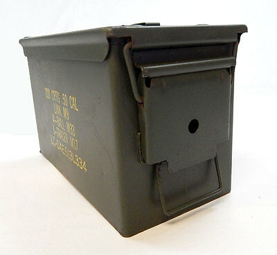 .50 Cal Ammo Steel Storage Can  (empty box) Excellent Grade 1A Military Surplus