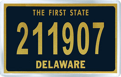 Delaware Usa License Plate Fridge Magnet Souvenir Iman Nevera