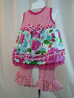NEW Infant 2 pc Floral Cherry Coast Hot Pink & Red Capri Set by Peaches n Cream