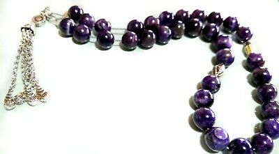 Tasbih Worry Beads Komboloi Genuine Amethyst Sterling Silver Chain