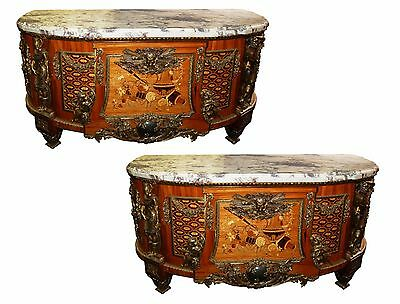 French Louis XVI Cabinets, a Pair, Large with Marble Top #5969