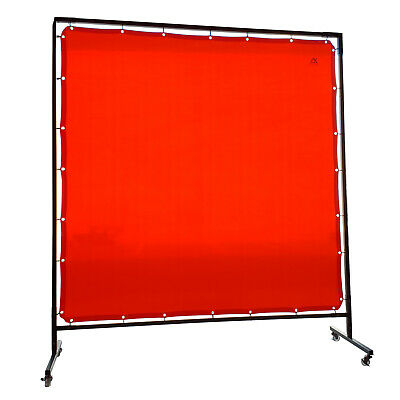 Red Welding Curtain / Screen and frame Combo - Heavy duty on wheels-  1.8m x 1.8
