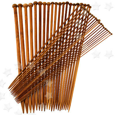 20 Size 40pcs Single Pointed Bamboo Knitting Sewing Needles 40cm Set 2mm-12mm
