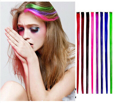 "New 24"" Colored Colorful Clip On In Hair Extension Fake Custom"