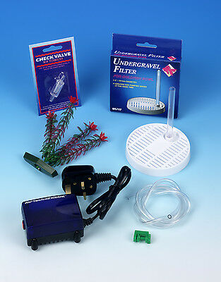Fish Bowl Medium Filter Starter Kit Filter Air Pump Plant Tube Clamp Frf-170