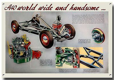 Austin A40 Engine And Chassis Metal Advertising Sign,british Classic Cars.retro