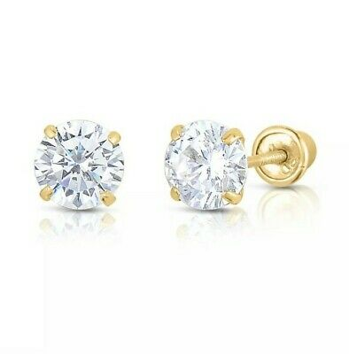 14K Yellow Gold 2mm-10mm Round CZ Birthstone Stud Earrings W/ Safety Screw Back