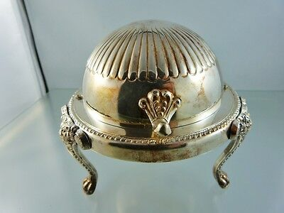 Plain Lion Head Paw Footed Roll Top Butter Dish Plate By B Rogers Silver Co