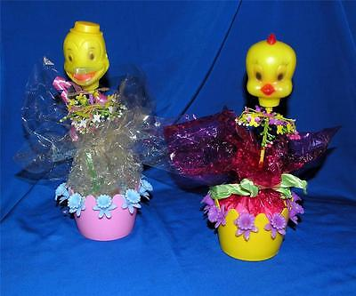 "2 1960's 9 1/2""  Blown Mold Chick & Duck Easter Candy Containers Orig Cellophane"