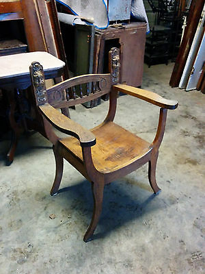 Oak Chair with Plaster lions heads on each side