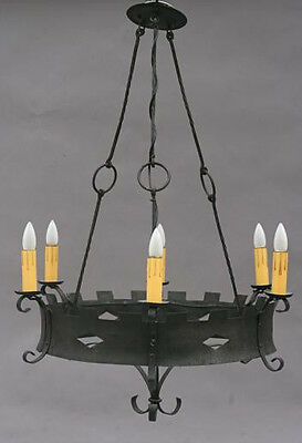 1920s Antique Wrought Iron Chandelier Spanish Revival English Tudor (4411)