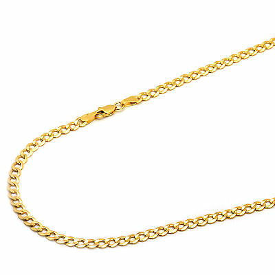 14K Solid Yellow Gold 4mm Concave Curb Cuban Chain Necklace