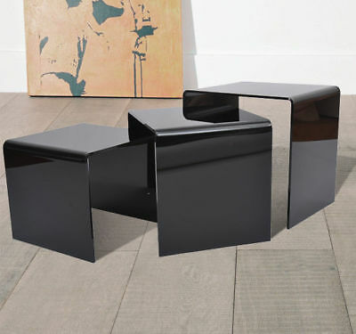 3pc Acrylic Perspex Nesting Nest End Tables Coffee Table Display Steps Black New