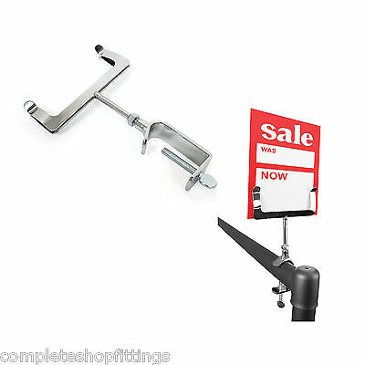 Brand New Chrome Clamp On Display Price Ticket Card Holder Clothes Rail