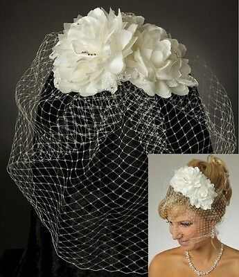 Double Satin & Lace Flower White Ivory Russian Net Blusher Wedding Bridal Veil