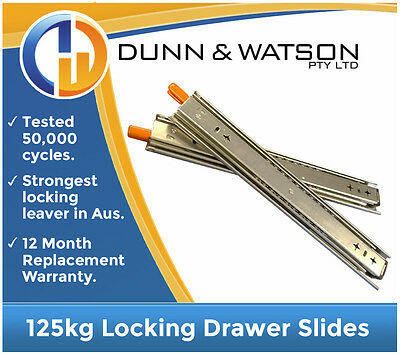 125kg Locking Drawer Slides / Runners - Lengths 356mm to 1016mm 4wd, 4x4, Fridge
