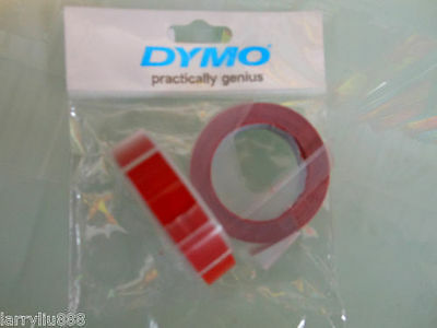 10 rolls x Dymo 3D embossing tape labels 9mm x 3m in RED  *Great Sales FreeShip