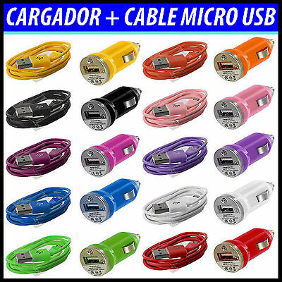 Cargador De Coche + Cable Micro Usb Datos Mechero Para Movil Universal Android