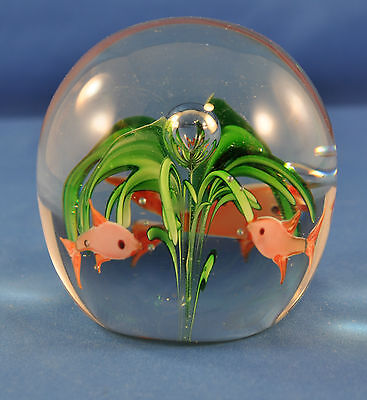 """Attractive  Glass Paperweight with Green Floral and 3 Goldfish---2 1/2"""""""