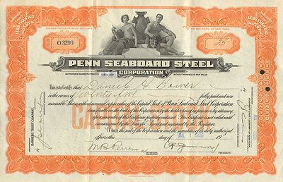 Penn Seaboard Steel Corporation   1926 New York stock certificate share
