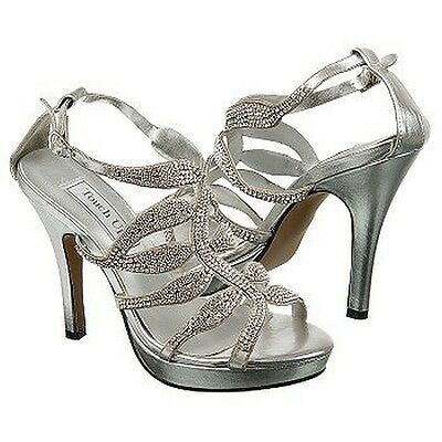 Silver Rhinestone Fire Prom Pageant Formal Bridal High Heel Sandal Platform Shoe