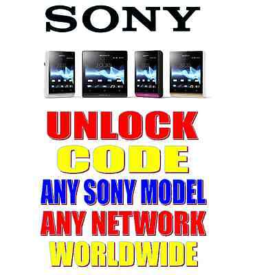 UNLOCKING CODE SONY XPERIA S M Z1 E J SP T U Z X10 X8 ANY NETWORK WORLDWIDE FAST
