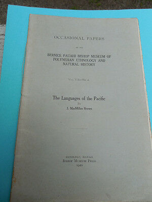 1920 OCCASIONAL PAPERS OF B.P.BISHOP MUSEUM  THE LANGUAGES OF THE PACIFIC