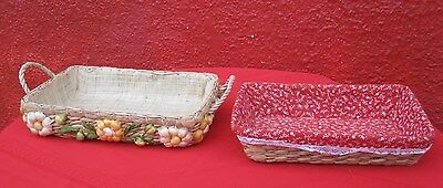 2 Pc Lot Mixed Vintage Woven Wicker Lined basket 1 W/ Handle Ribbon Floral   ✞