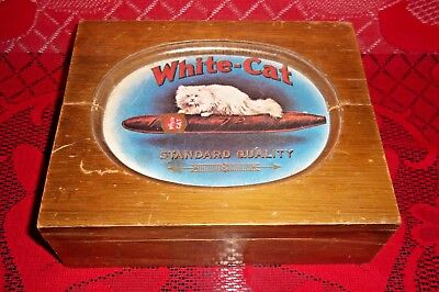 White-Cat Standard Quality Wooden Cigar Box Vintage Handcrafted Willitts Design