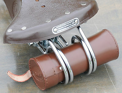Dk Brown Leather Bike Tool Bag / Pouch   4 Vintage Bicycle Hairpin Saddle Phone