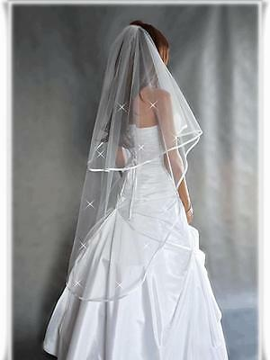 "2T White / Ivory Wedding Prom Bridal Veil With Comb 52""- Swarovski Crystals"