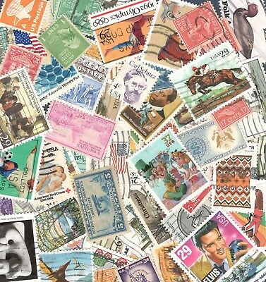 Vintage Lot Of 30 US Used Postage Stamp Off Paper In Envelopes Free Shipping