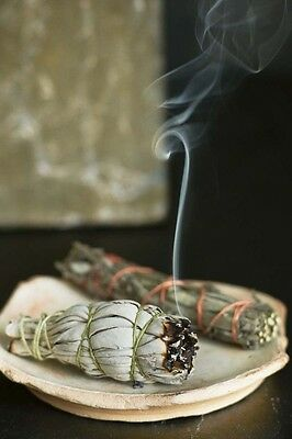 "California WHITE SAGE Smudge Wand Stick 4"" CLEANSING Incense Native American"