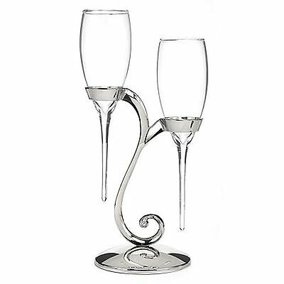 Raindrop Wedding Toasting Glasses Champagne Flutes with Silver Swirl Stand